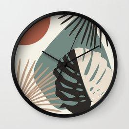 Minimal Yin Yang Monstera Fan Palm Finesse #1 #tropical #decor #art #society6 Wall Clock