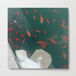 Kitty and Goldfish Metal Print