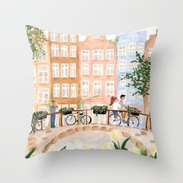 Amsterdam in the Spring Throw Pillow