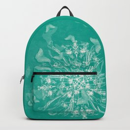 ghost bouquet and butterflies  on teal Backpack