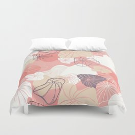 Large Abstract Dandelion Seeds Repeating Pattern on Orange Duvet Cover