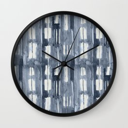 Simply Shibori Lines in Indigo Blue on Lunar Gray Wall Clock