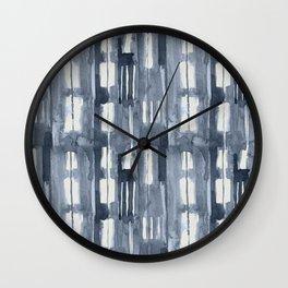 Simply Shibori Lines in Indigo Blue on Lunar Gray Wall Clock