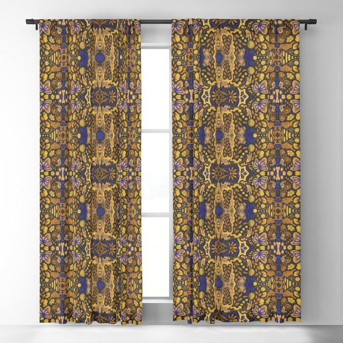 Indian Summer, bohemian pattern, golden yellow & blue Blackout Curtain