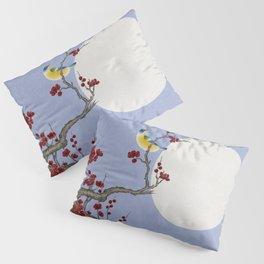 Plum blossoms, bird, and the moon Type F (Minhwa: Korean traditional/folk art) Pillow Sham