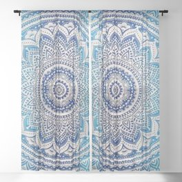Teal And Aqua Lace Mandala Sheer Curtain