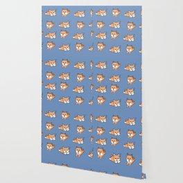 Cool Blue Shiba Pattern Wallpaper