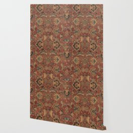 Flowery Boho Rug IV // 17th Century Distressed Colorful Red Navy Blue Burlap Tan Ornate Accent Patte Wallpaper