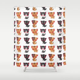 Cute black brown watercolor kitty animal pattern Shower Curtain