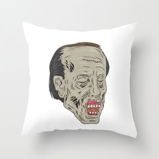 Zombie Head Three Quarter View Drawing Throw Pillow