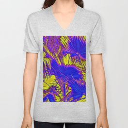closeup palm leaf texture abstract background in blue pink and yellow Unisex V-Neck