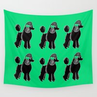 poodle Wall Tapestries featuring Black Standard Poodle with a Green Bow by Artist Abigail