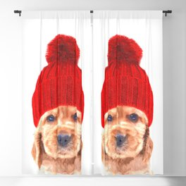 Cocker spaniel puppy with hat Blackout Curtain