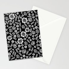 Linocut florals pattern minimal black and white home decor college dorm bohemian printmaking Stationery Cards