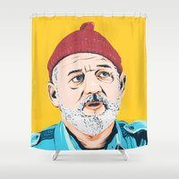 zissou Shower Curtains featuring Steve Zissou by Jeroen van de Ruit