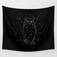 constellation Wall Tapestries featuring Owl Constellation  by Terry Fan