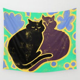 Two Cats Cuddling Wall Tapestry