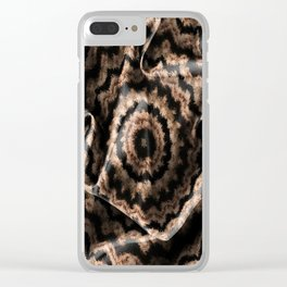 Kaleidoscope Beige Circular Fabric Texture Pattern on Black Clear iPhone Case