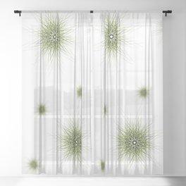 Minimalist green geometric lines mandala star Sheer Curtain