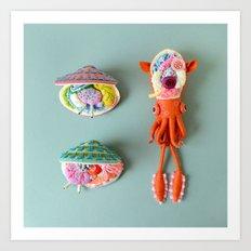 Anatomy of Small Ear Squid & Deep Water Clams Art Print
