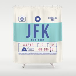 Retro Airline Luggage Tag 2.0 - JFK New York Airport USA Shower Curtain