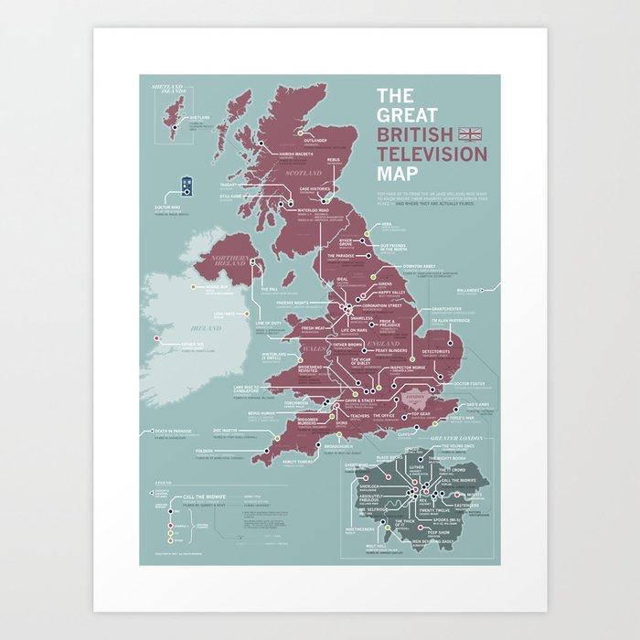 The Great British Television Map Art Print