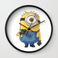 carl sagan Wall Clocks featuring Minion - Carl by Konstantin Veter