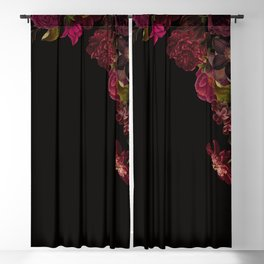 Vintage & Shabby Chic - Antique Dark Roses And Anemones On Black Blackout Curtain