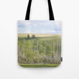Lake and trees landscape Tote Bag