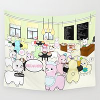 alpaca Wall Tapestries featuring Alpaca Dreams Café  by rinicake