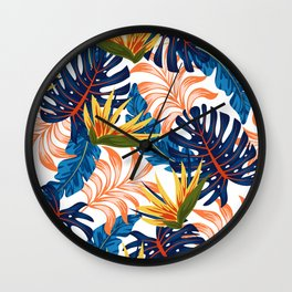 Trendy seamless tropical pattern with bright plants and leaves on a light background. Summer colorful hawaiian seamless pattern with tropical plants. Beautiful print with hand drawn exotic plants. Wall Clock