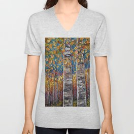Autumn Aspen Colors Palette Knife Unisex V-Neck