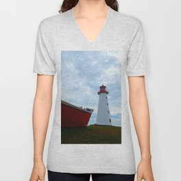 Boat and Lighthouse in Point Prim PEI Unisex V-Neck