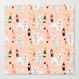 Maltese dog breed wine champagne summer pattern dog gifts pet friendly dogs Canvas Print