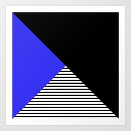 Blue & Black Geometric Abstraction Art Print