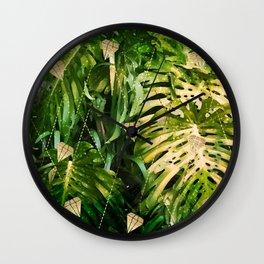 Leaf & gold Wall Clock