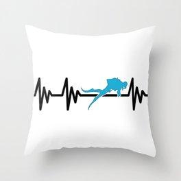 Diving Heartbeat Throw Pillow