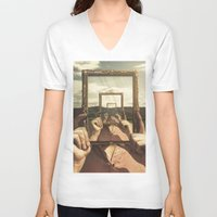 frame V-neck T-shirts featuring Empty Frame by Seamless