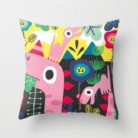 dino Throw Pillows featuring Dino by Marijke Buurlage