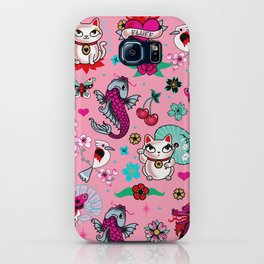 Lucky Cat Maneki Neko , Dragons and Koi fish On Pink iPhone Case