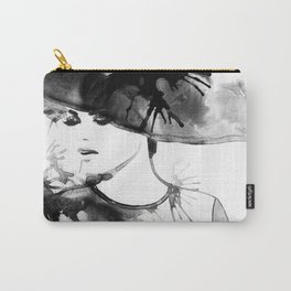 Beautiful face. woman portrait with hat. abstract watercolor. fashion background Carry-All Pouch