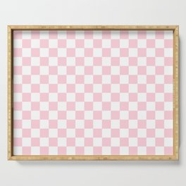 Large Soft Pastel Pink and White Checkerboard Serving Tray