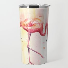 Pink Flamingo Rain   Facing Right Travel Mug