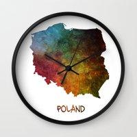 poland Wall Clocks featuring Poland map  by jbjart