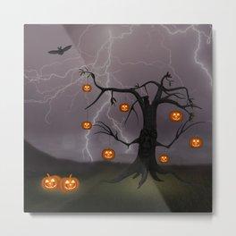 SCARY HALLOWEEN TREE Metal Print