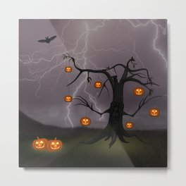 SCARY HALLOWEEN TREE Metal Print