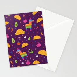 Taco Fiesta in Purple Stationery Cards