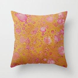 Magenta Gold Mottled Throw Pillow