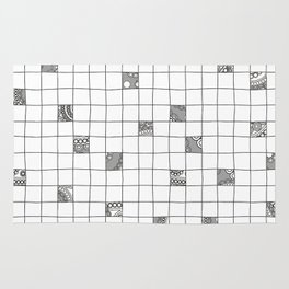 Abstract background with black and white crossword grid Rug