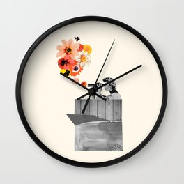 in bloom (black & white) Wall Clock